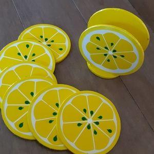 Vintage   lemon coaster set